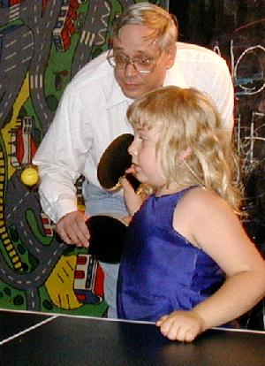 Uncle George and me planing Ping Pong